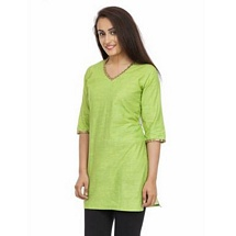 Elite Light Green Color Cotton Kurti