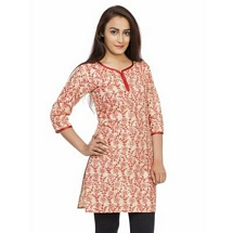 Elite White N Red Color Printed Cotton Kurti
