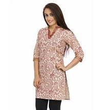 Elite White N Maroon Printed Cotton Kurti