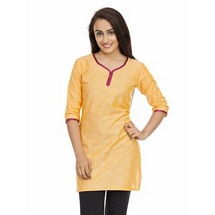 Elite Yellow Color Cotton Kurti