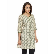 Elite White N Green Printed Cotton Kurti