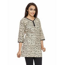 Elite White N Black Printed Cotton Kurti