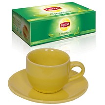 Cup Saucers Set with Green Tea