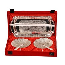 Silver Plated Bowls with Tray & Spoons