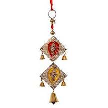 Dual Ganesha Motif Metallic Wall Hanging or Latkan for Diwali Decoration