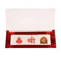 Silver Foil Laxmi Ganesh Note with Envelope