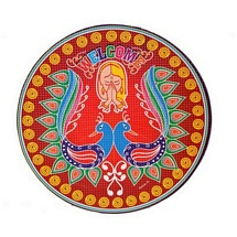 Peacock Design Rangoli Stickers - Set of 5