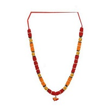 Red and Orange Satin Diwali Deity Garland with Beads