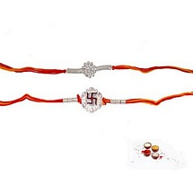 Cute Pair of Silver n Diamond Aura Mauli Rakhis