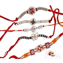Premium Stone Rakhis - Set of 5
