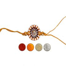 Diamond Aura Rakhi with Pearl n Golden Thread