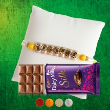 Premium Stone Rakhi with Dairy Milk Silk