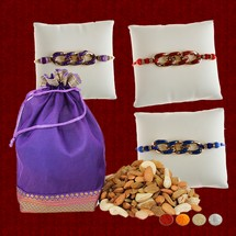 3 Rakhis with 400g Mixed Dryfruits