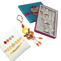Designer Rakhi Set with 1kg Kaju Barfi