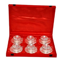Silver Plated 6 Brass Tea Cups And Saucer Set