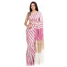 Pink Stripped Silk Saree