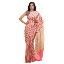 Peach Stripped Tussar Silk Saree