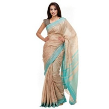 Beize and Sky Blue Silk Saree