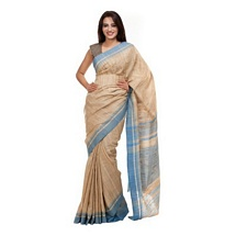 Beize and Blue Pure Tussar Silk Saree