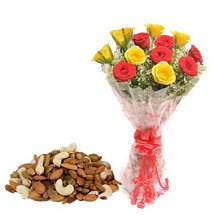 Rose Bouquet & Dry Fruits - Diwali Gifts