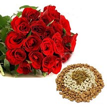 Dry Fruits & Red Roses - Diwali Gifts