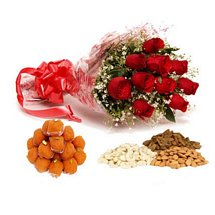 Dry Fruits, Laddoo & Roses - Diwali Gifts