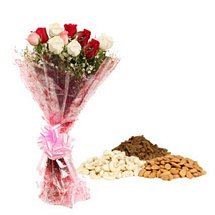 Mix Roses & Dry Fruits - Diwali Gifts