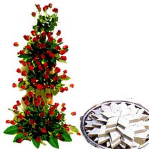 Grand Rose Bouquet & Sweets - Diwali Gifts