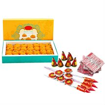 Crackers With Ladoo - Diwali Gifts