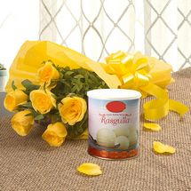 Fathers Day Spl - Yellow Roses N Rasgulla
