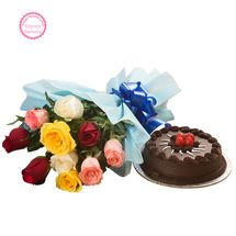 Mothers Day Spl - Chocolate Cake and Roses