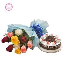 Mothers Day Spl - Roses and Black Forest Cake