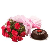 Valentine - Chocolate Cake N Flowers