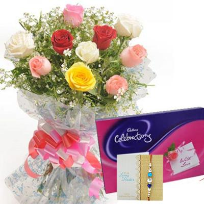 Rakhi with Flowers n Chocolates - Same Day Delivery