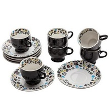 6 Tea Cups n 6 Saucers Set (Black)