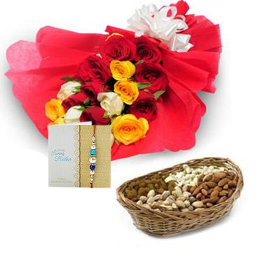 Rakhi with Flowers and Dryfruits - Same Day Delivery
