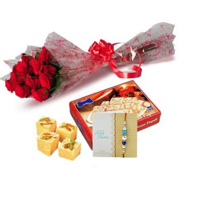 Rakhi with Flowers and Sweets - Same Day Delivery