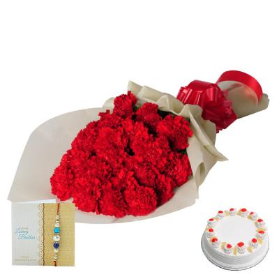 Rakhi with Flowers N Cake - Express Delivery