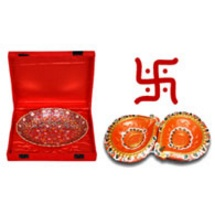 Diwali Gift - Minakari Brass Bowl with 2 Decorative Diwali Diyas